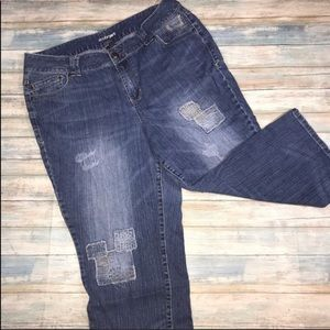 Lane Bryant Patchwork Crop Jeans